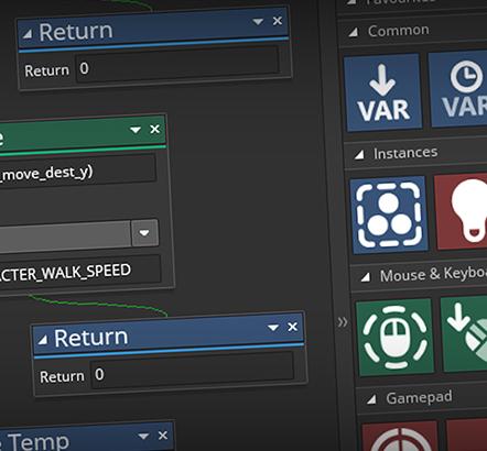 使用我们易于学习的GameMaker语言或无代码开发的Drag and Drop制作游戏。